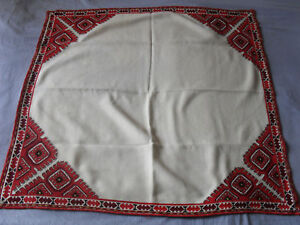 Gorgeous Vintage Hand-Embroidered Linen Tablecloth