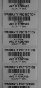100-WHITE-WARRANTY-PROTECTION-VOID-SECURITY-LABELS-STICKERS-BAR-CODE