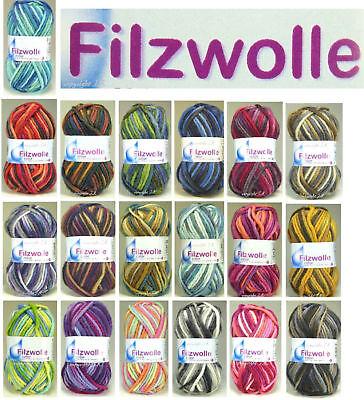 Filzwolle 20 melierte Farben Filz-Wolle stricken+häkeln+filzen Schurwolle color