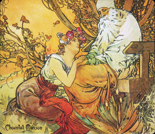 "Alphonse Mucha-Chocolat Mexicain,Vieillesse-Old Age 24/""x20/"" CANVAS ART Alfons"