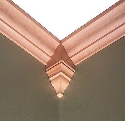 Crown Molding Corner Block Stainable Wood Moulding Maple Cherry Oak  Alder Pine