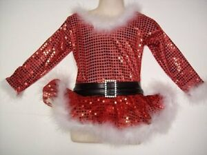 ICE SKATING DRESS Sparkly Ms Santa Claus Costume CHILD 4 Clearance