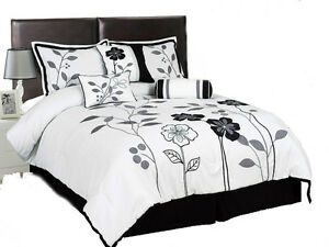7-Piece-White-Grey-and-Black-Lily-with-Leaf-Applique-Comforter-Set-Bed-In-A-Bag