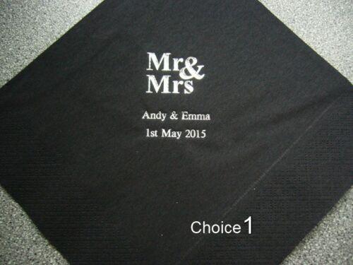 Serviette /& Imprimer Options De Couleur 100 Personnalisé Mariage Serviettes Divers Design