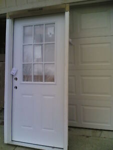 brand new 36 x80 steel exterior door w 9 lite glass wood frame ebay