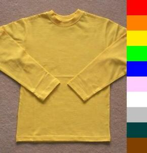 Bnwt Boys Girls Plain Long Sleeve T Shirts 10 Colours Ebay