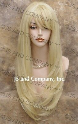 Human Hair Blend Long Straight Pale Blonde Wig with bangs wil 613