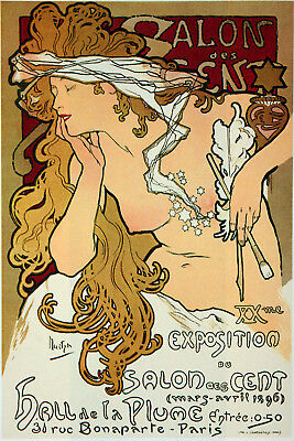 POSTER.Stylish Graphics.Art Noveau.NUDE Woman.Fashion French Salon decor.80