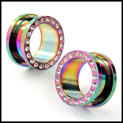 AP-721 Screw on Stainless Steel Anodized Rainbow flesh tunnel Ear Plugs w Gems