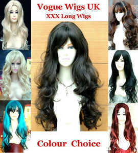 Stunning-Ladies-XXX-Extra-Long-Wavy-Wig-Red-Blue-Blonde-Black-Brown-Full-Wigs
