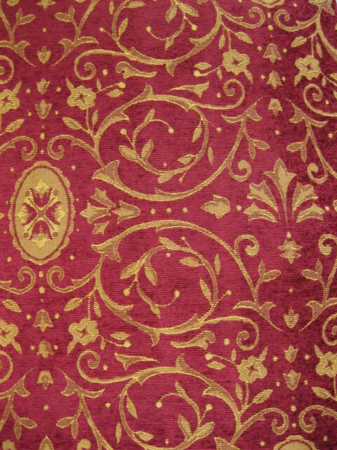 """PAIR HEAVY 90"""" X 54""""TRADITIONAL ROYAL DOULTON  LINED TAPESTRY STYLE RED CHENILLE"""