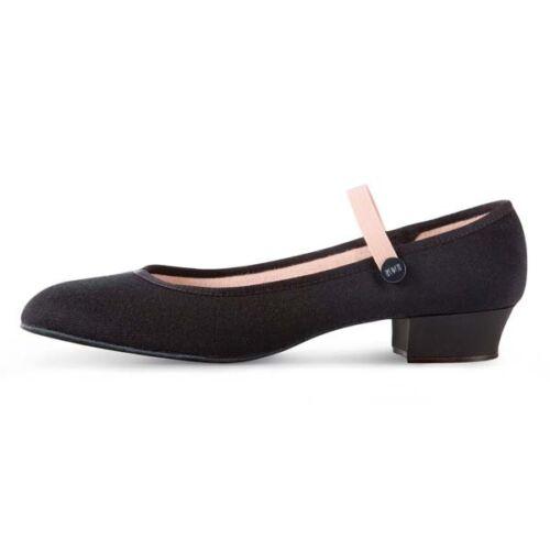Bloch 326 Accent Talon Bas Noir Toile caractère Chaussures De Danse-Filles Tailles UK