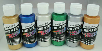 CREATEX Airbrushing Paint 6pc Set PEARLIZED Colors 5804