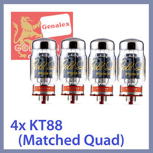 4x-NEW-Genalex-Gold-Lion-KT88-GEC-6550-Power-Vacuum-Tubes-Matched-Quad-TESTED