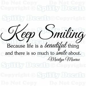 KEEP-SMILING-LIFE-IS-BEAUTIFUL-MARILYN-MONROE-Quote-Vinyl-Wall-Decal-Sticker-Art