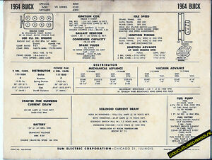 1964-BUICK-SPECIAL-and-SKYLARK-V8-300-ci-Engine-Car-SUN-ELECTRONIC-SPEC-SHEET