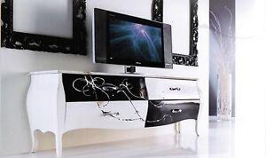 mobile porta tv basso classico bombato bianco e nero con decoro ... - Mobili Soggiorno Bianco E Nero 2