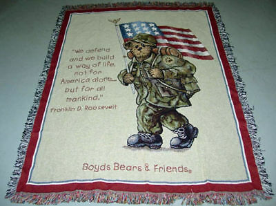 Boyds Bears GI Bruin Soldier Tapestry Afghan Throw