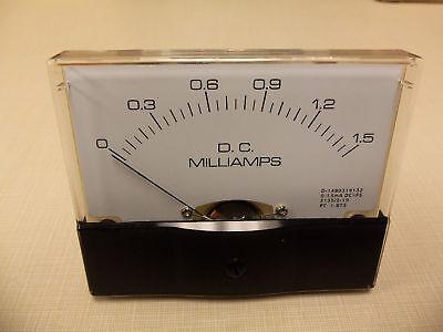 """Dc. Panel METER 0 - 1.5 MilliAmp. 4"""" X 3 1/2"""" NEW For CB Radio Ham Amp Amplifier"""