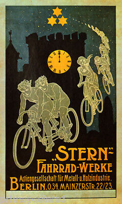 STERN BERLIN MIDNIGHT FLYING BIKE RIDE GERMANY BICYCLE VINTAGE POSTER REPRO
