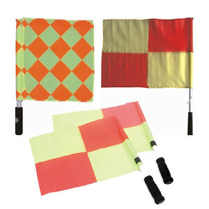 3x-Sets-Referee-Linesman-039-s-Flags-Football-Soccer-Rugby
