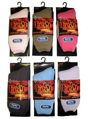 6 x Ladies Ultimate Thermal Feet Warmer Socks 2.11 Tog Size 4-8 Soft Brushed