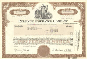 Image Is Loading Reliance Insurance Company Gt Stock Certificate Share  Company Share Certificates