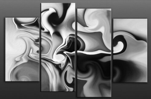 """LARGE GREY ABSTRACT SPLIT CANVAS PICTURE MULTI 40""""x28"""""""