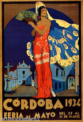 1934 CORDOBA SPAIN FLAMENCO SPANISH DANCE TRAVEL TOURISM VINTAGE POSTER REPRO