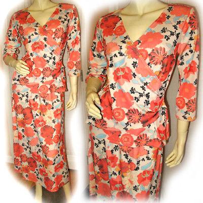 Womens 2pc CORAL ORANGE WHITE Hawaiian Tropical Floral Flowers Print DRESS Small