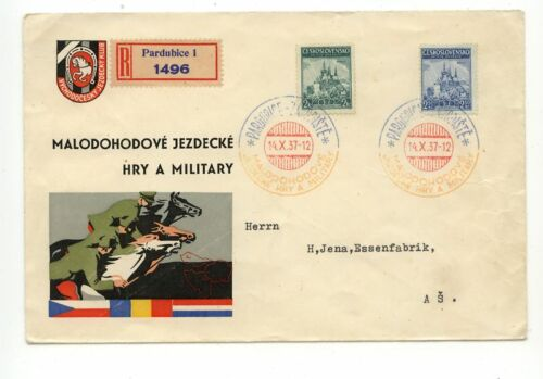 Czechoslovakia , Pardubice , registered cachet cover