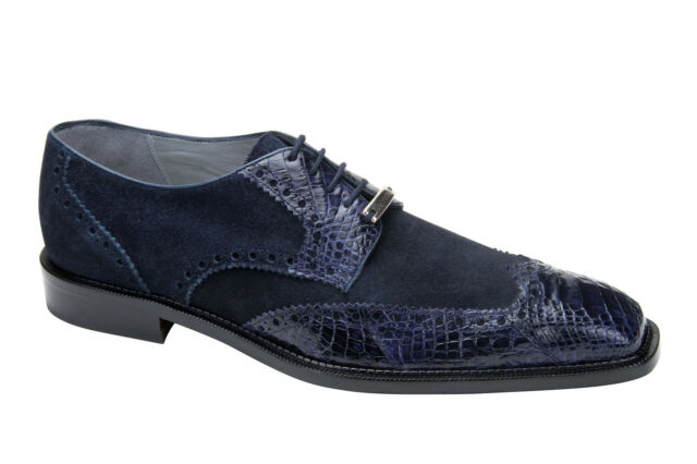 Belvedere Navy Pergola Genuine Crocodile & Suede Men's Oxfords Size 8-14