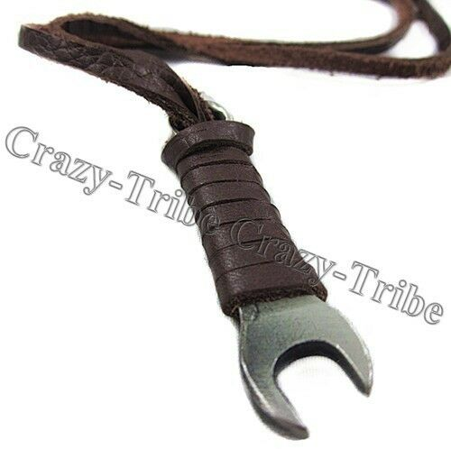 mens Boy's charm choker Wrench pendant Genuine leather necklace ancientry COOL