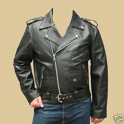 Herren Lederjacke Motorradjacke Leder Jacke Rockabilly Marlon Brando XXL B-WARE