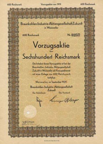 Braunkohlen-Industrie Zukunft Weisweiler Eschweiler alte Aktie 1929 RWE Bergbau