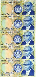 LOT-Lesotho-Kingdom-5-x-5-Maloti-1989-P-10-UNC