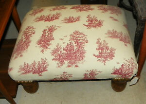 Red-White-Toille-Print-Ottoman-Footstool-Stool-ST95