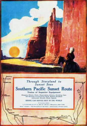 Travel POSTER.Southern Pacific Sunset train Route.Home room wall decor Art.1766