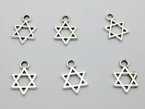 100-Tibet-Silver-Star-of-David-Kabbalah-Charm-Pendant