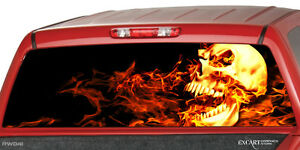 FLAMING SKULL Burning Rear Window Graphic Decal Truck SUV Cap - Chevy rear window decals trucks