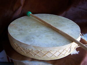 LARGE-20-034-RAWHIDE-DRUM-FLAT-ETHNIC-SHAMAN-RUSTIC-DECOR-POWWOW-CEREMONIAL-DRUM