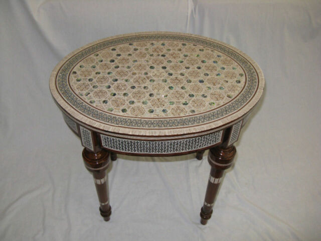 """Egyptian Inlaid Mother of Pearl Wood Oval Living Room Table 20.5"""""""