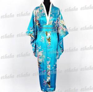 Deluxe-Kimono-Robe-Yukata-Japanese-Gown-Dress-w-Obi