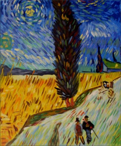 Quality Hand Painted Oil Painting Repro Van Gogh Road with Cypress 8x10in