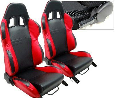 2 PC BLACK & RED RACING SEATS RECLINABLE ALL MAZDA NEW