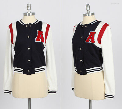 GIRL'S Button Down Cotton BASEBALL JACKET NAVY Large L