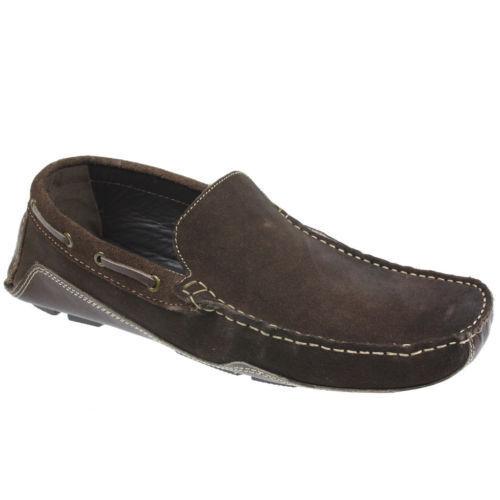 Men/'s Luca Mancini en daim marron driving shoes