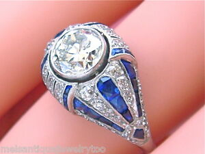 ESTATE-ART-DECO-2ct-EURO-DIAMOND-SAPPHIRE-PLATINUM-RING