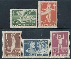 Finland-1947-MNH-Anti-Tuberculosis-Childcare-system-in-Finland-Scott-B82-86