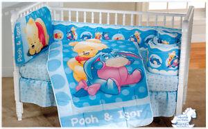 New Disney Winnie The Pooh Blue Baby Crib Bedding Nursery